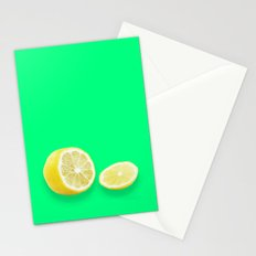 Lonely Sliced Lemon - Bright Spring Green Stationery Cards