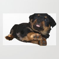 rottweiler Area & Throw Rugs featuring Cute Rottweiler Puppy Vector by taiche
