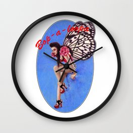 Vintage 1950's Rockabilly Butterfly Girl Pin-up Wall Clock