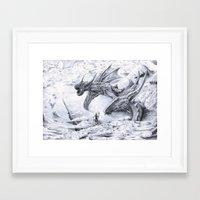 attack on titan Framed Art Prints featuring Attack on Titan Dragon by SkillSkillFiretruck
