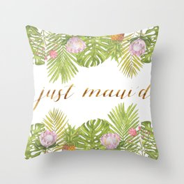 Just Maui'd - Tropical Leaves & Flowers with Gold Script in Pink Green and White Throw Pillow