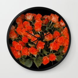 Red Rose Bouquet Wall Clock