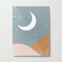 Minimalist Minimal Landscapes Colour Block Ocean Moon Pastel Colours Midcentury Modern Cool Magical Mystical Abstract Art Bohemian Boho Style Trendy  Metal Print