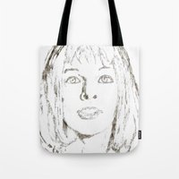 fifth element Tote Bags featuring Leeloo Fifth Element sketch- Milla Jovovich  by Robin Stevens