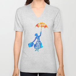Anything Can Happen If You Let It - Mary Poppins Quote - colorful watercolor splatter Unisex V-Neck