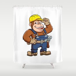 Cartoon of a Gorilla Handyman Shower Curtain