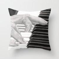 piano Throw Pillows featuring Piano by aurelia-art