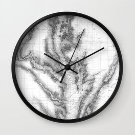 Vintage Map of The Chesapeake Bay (1873) BW Wall Clock