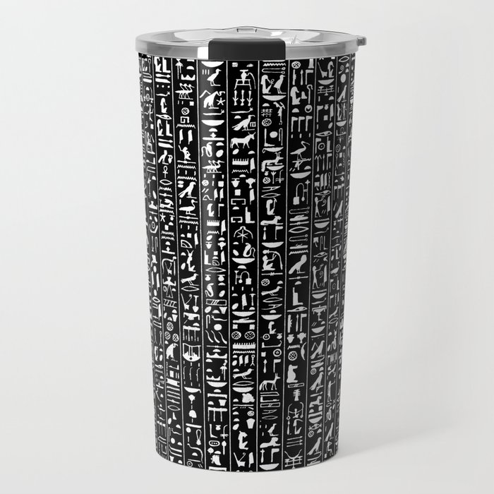 Hieroglyphics B&W INVERTED / Ancient Egyptian hieroglyphics pattern Travel Mug