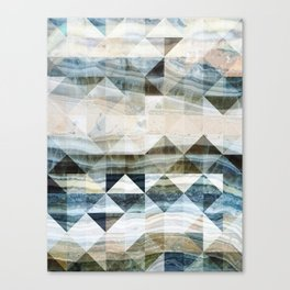 Geo Marble - Natural and Blue #buyart #marble Canvas Print