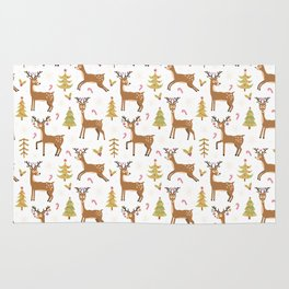 Pastel green brown cute Christmas deer festive pattern Rug