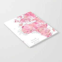 Pink detailed watercolor world map with cities Azalea Notebook