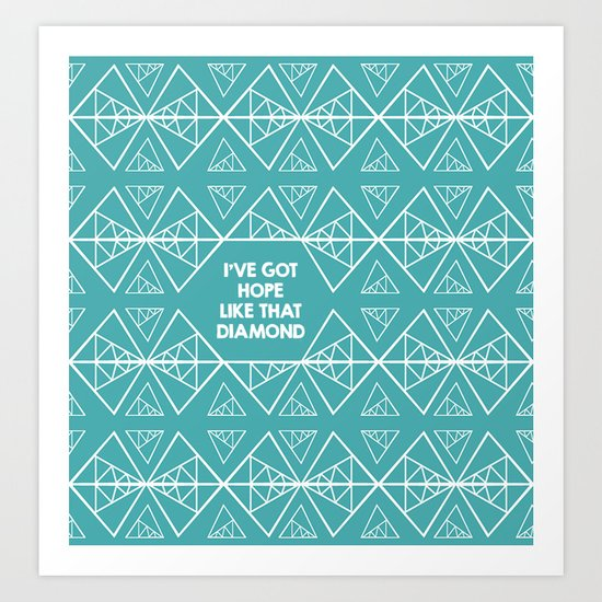 Triangles with Diamonds - Teal Hope Diamond Art Print