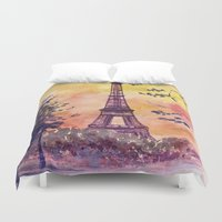 paris Duvet Covers featuring Paris by Anna Shell