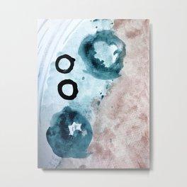 Space: a minimal watecolor piece in blue, pink, and black Metal Print