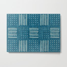 Mud Cloth Patchwork in Teal Metal Print