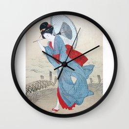Geisha strolling in kimono with umbrella Wall Clock