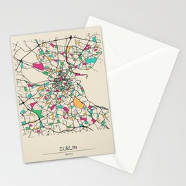 Colorful City Maps: Dublin, Ireland Stationery Cards