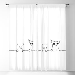 4 Cats on a Line #001, Cat 1 & 2, by clodyCats Blackout Curtain