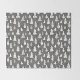 Pine Forest on Dark Linen Throw Blanket