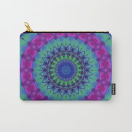 PURPLE, GREEN AND BLUE MANDALA Carry-All Pouch