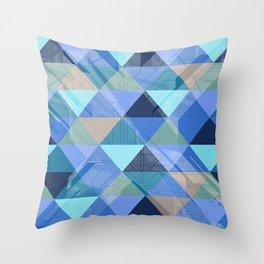 Triangles Blues Throw Pillow