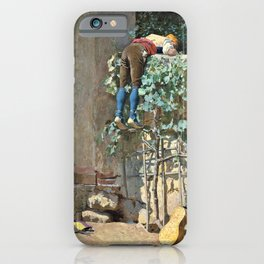 Jehan Georges Vibert - Sneaking a peek - Digital Remastered Edition iPhone Case