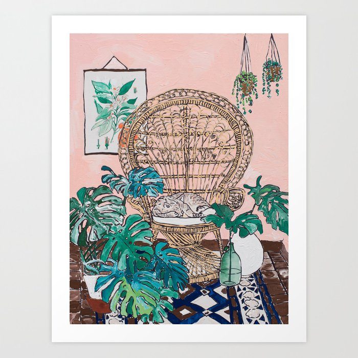 Napping Tabby Cat in Cane Peacock Chair in Tropical Jungle Room Art Print