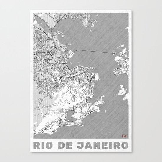 Rio de Janerio Map Line Canvas Print