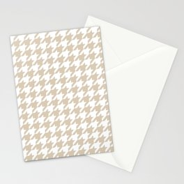 Houndstooth: Beige & White Checkered Design Stationery Cards