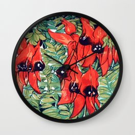 Vintage Australian Sturt's Desert Pea Flower Wall Clock
