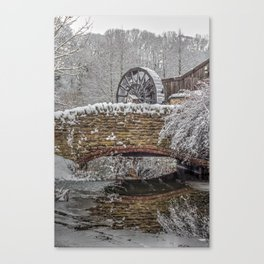 watermill in the snow Canvas Print