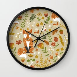 Foxes with Fall Foliage Wall Clock