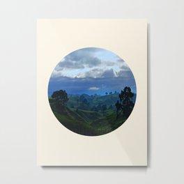 Rolling Hills Circle Photo Frame Metal Print