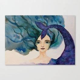 Watercolor Mermaid Blue Green Hair Canvas Print
