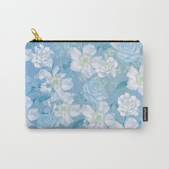 Blue Vintage Rose Pattern Carry-All Pouch