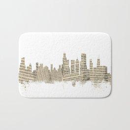Chicago Illinois Skyline Sheet Music Cityscape Bath Mat