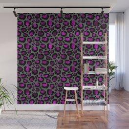 Black & Metallic Purple Leopard Print Wall Mural