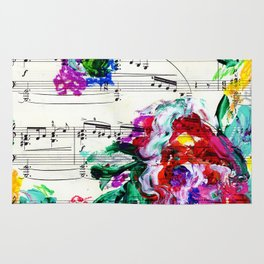 Musical Beauty - Floral Abstract - Piano Notes Rug