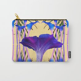 CONTEMPORARY PURPLE-BLUE FLOWERS ON CREAM Carry-All Pouch