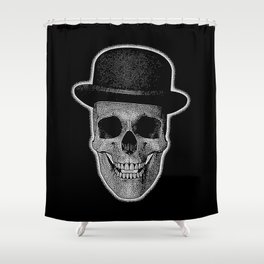 skull with bowler hat Shower Curtain