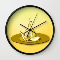 pear Wall Clocks featuring Pear by dBranes