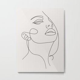 Woman In One Line Neutral Background Metal Print