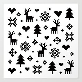 PIXEL PATTERN - WINTER FOREST Art Print