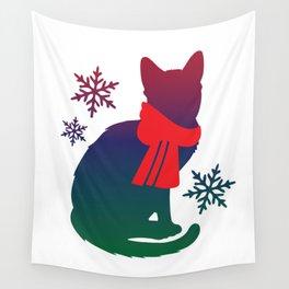 Winter Cat Wall Tapestry