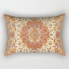 Persia Tabriz 19th Century Authentic Colorful Dusty Tan Red Blush Vintage Patterns Rectangular Pillow