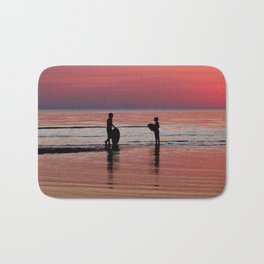 Sunset Surfing Silhouettes Bath Mat