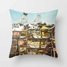Crab Pot Photograph, Ilwaco Washington Harbor, Northwest Fisherman Boat Photo, Crabber, Seafood Throw Pillow