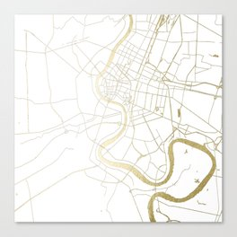 Bangkok Thailand Minimal Street Map - Gold Metallic and White II Canvas Print