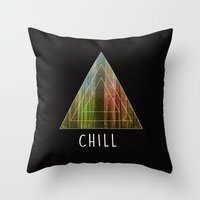 chill Throw Pillows featuring Chill  by Corentin Mas